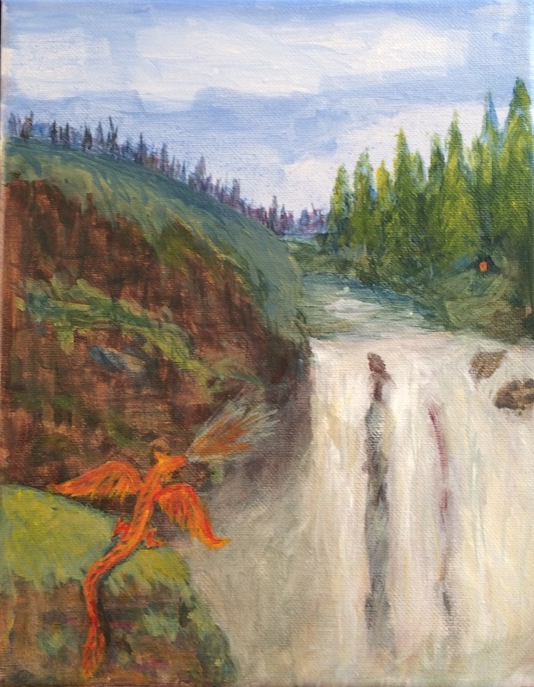 Waterfall with Red-gold dragon - Copyright 2019