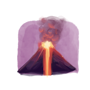 illustration - volcano erupting