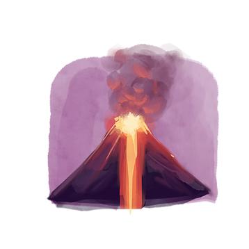illustration - volcano erupting